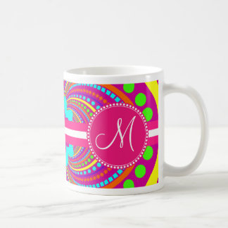 Bold Monogram Funky Pattern Hot Pink Design Basic White Mug