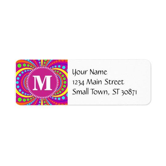 Bold Monogram Funky Pattern Hot Pink Design Return Address Label