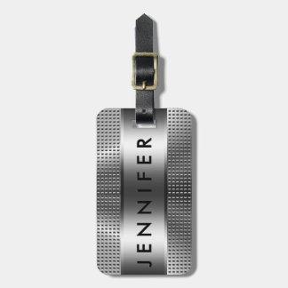 Bold Monogram, Metallic Silver Gray Pattern Design Bag Tags