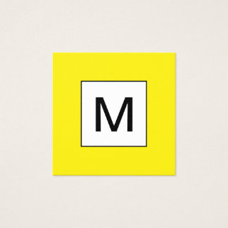Bold monogram minimalist yellow business card