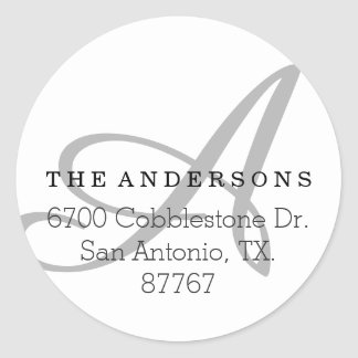 Bold Monogram White Address Label Round Sticker