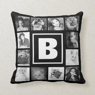 Bold Monogram with 12 Instagram Photos Cushion