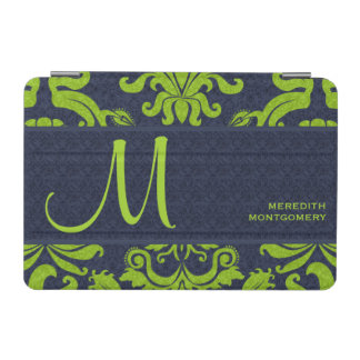 Bold Monogram with Jade Green and Navy Blue iPad Mini Cover