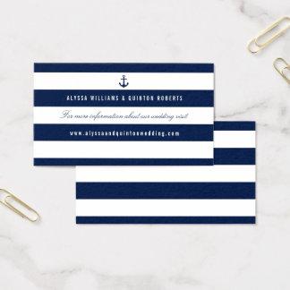 Bold Nautical Theme Wedding Information Business Card