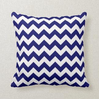 Bold Navy Blue & White Chevron Zig-Zag Pattern Throw Cushion