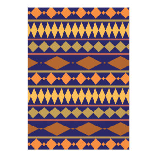 Bold Navy Rust Geometric Tribal Pattern Cards