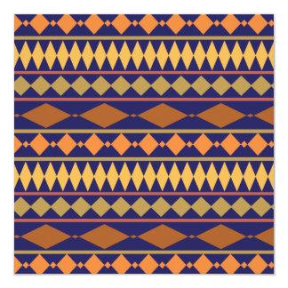 "Bold Navy Rust Geometric Tribal Pattern 5.25"" Square Invitation Card"