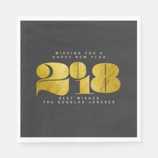 BOLD NEW YEAR(GOLD) DISPOSABLE SERVIETTES