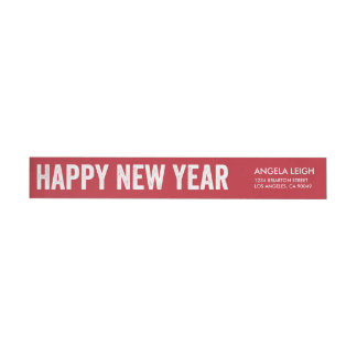 Bold New Year Return Address Label