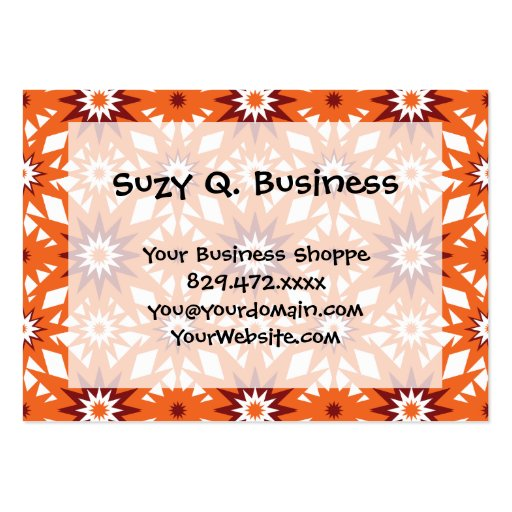 Bold Orange and Red Stars Starburst Pattern Business Card Templates
