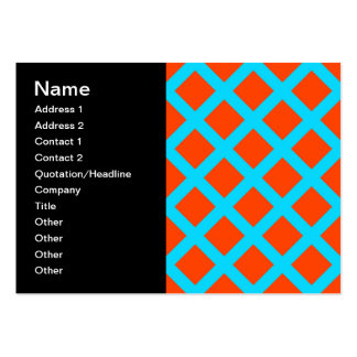 Bold Orange and Turquoise Blue Diamonds Pattern Pack Of Chubby Business Cards