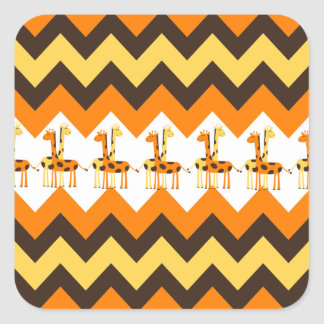 Bold Orange Brown Yellow Chevrons with Fun Giraffe Square Stickers