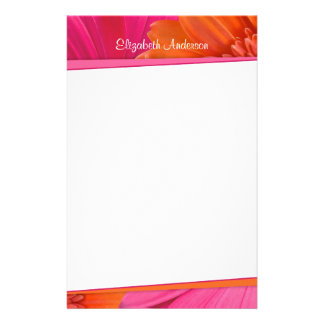 Bold Orange Pink Gerbera Daisy Stationery