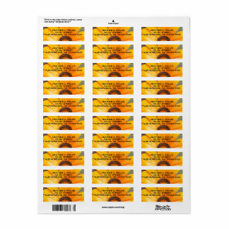 Bold Orange Wet Daisy Half Close-Up Photograph Return Address Label
