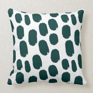 Bold Painted Spots - Dark Green on White Cushion