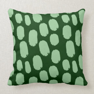 Bold Painted Spots - Faded Green on Dark Green Cushions