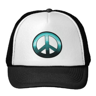 Bold Peace Sign ~ Turquise Cap