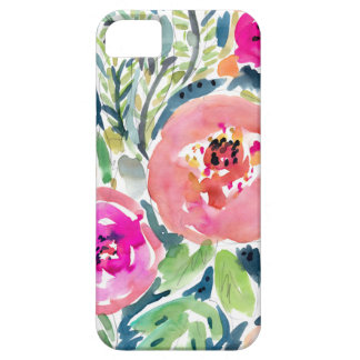 Bold Peach Painterly Watercolor Floral Barely There iPhone 5 Case