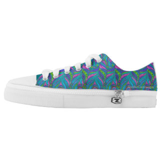 Bold Peacock Feather Print Low Tops