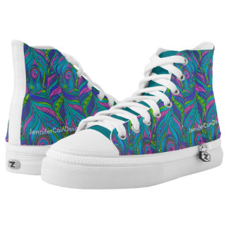 Bold Peacock Feather Print Printed Shoes