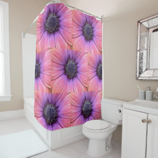 Bold Pink and Orange Daisies Shower Curtain