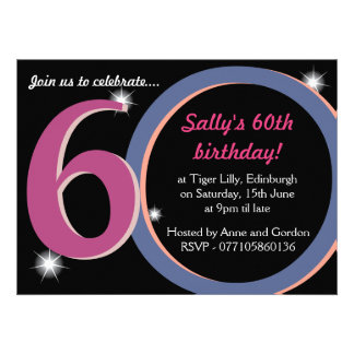 Bold Pink & Blue Sixtieth 60th Birthday Party Personalized Announcements