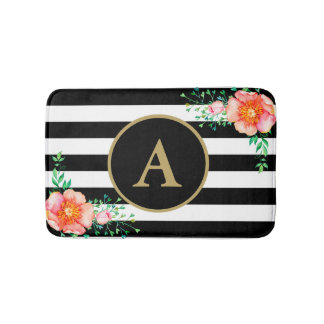 Bold Pink Floral Black White Stripe Gold Monogram Bath Mat
