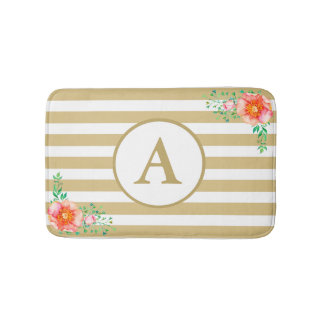 Bold Pink Floral Gold White Stripe Gold Monogram Bath Mat