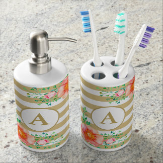 Bold Pink Floral Gold White Stripe Gold Monogram Soap Dispenser And Toothbrush Holder