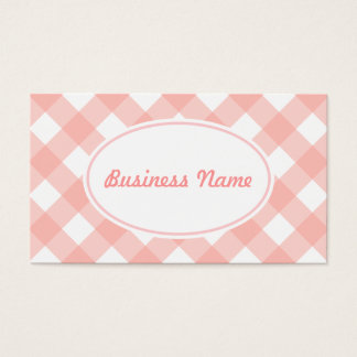 Bold Pink Gingham Business Card