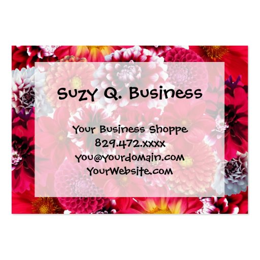 Bold Pink Magenta Dahlia Flowers Floral Collage Business Card Template