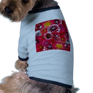 Bold Pink Magenta Dahlia Flowers Floral Collage Doggie T-shirt