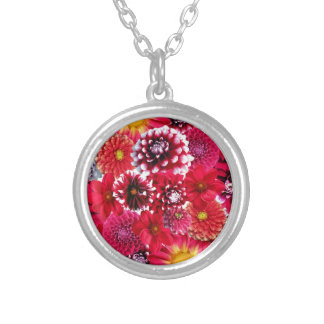 Bold Pink Magenta Dahlia Flowers Floral Collage Custom Jewelry