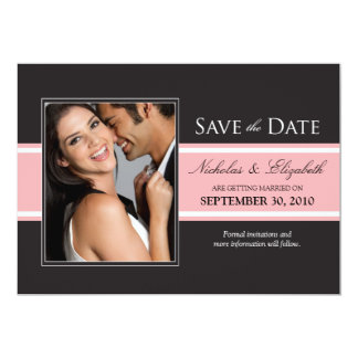 "Bold Pink Stripe Save the Date Announcement 5"" X 7"" Invitation Card"