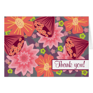 Bold Pink Trendy Floral Flower Pattern Card