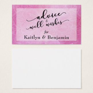 Bold Pink Watercolor Advice & Well Wishes Wedding Business Card