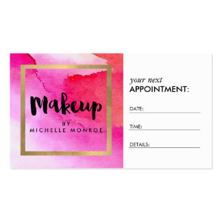 Bold Pink Watercolors Makeup Artist Appointment Pack Of Standard Business Cards