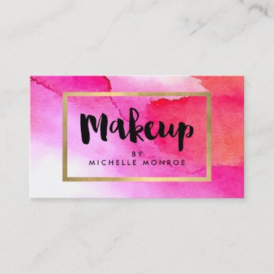 Bold pink red lips watercolor beauty makeup artist business card bold pink red lips watercolor beauty makeup artist business card zazzle reheart Images