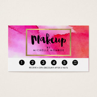 Bold Pink Watercolors Makeup Artist Loyalty Business Card