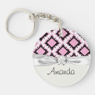 bold pink white black diamond damask pattern Single-Sided round acrylic keychain