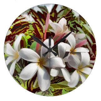 Bold Plumeria Wall Clocks