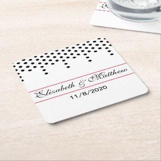 Bold Polka Dot Wedding Square Paper Coaster