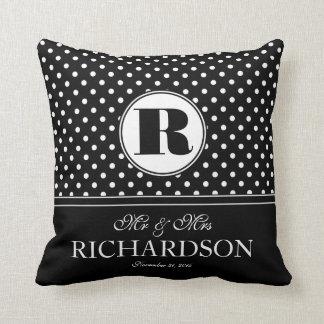 Bold Polka Dots Mr and Mrs Newlywed Monogram Cushion