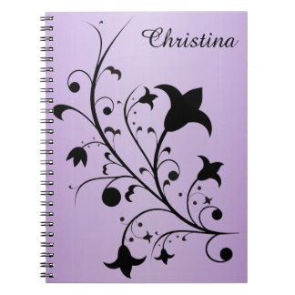Bold Pretty Black Abstract Flowers on Purple Notebooks