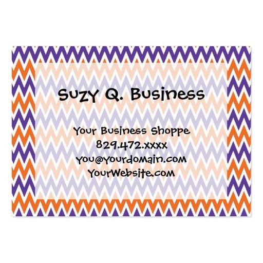 Bold Purple and Orange Chevron Zigzag Pattern Business Card Template