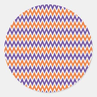 Bold Purple and Orange Chevron Zigzag Pattern Round Sticker