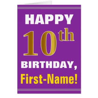 Bold, Purple, Faux Gold 10th Birthday w/ Name Card