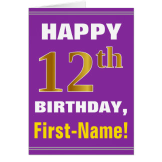 Bold, Purple, Faux Gold 12th Birthday w/ Name Card