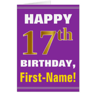 Bold, Purple, Faux Gold 17th Birthday w/ Name Card