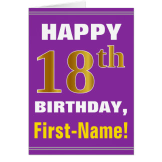 Bold, Purple, Faux Gold 18th Birthday w/ Name Card
